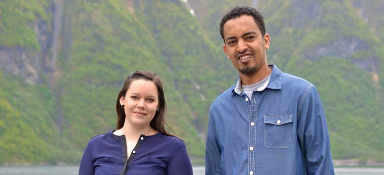 Anne Margrete Hatlelid og Daniel Fishaye Tekleab. Foto: Ingrid Nordbye-Antonsen